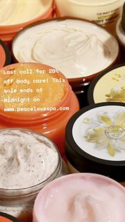 Last call for 20% off body care! This sale ends at midnight on www.peacelovespa.com